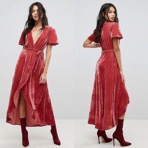 Pretty Little Thing Velvet Rose wrap dress. Sz 10